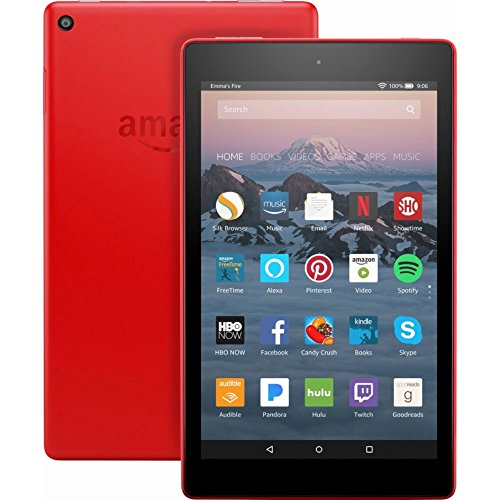 """Fire HD 8 Tablet with Alexa, 8"""" HD Display, 16 GB, Punch Red - with Special Offers (Previous Generation - 7th)"""