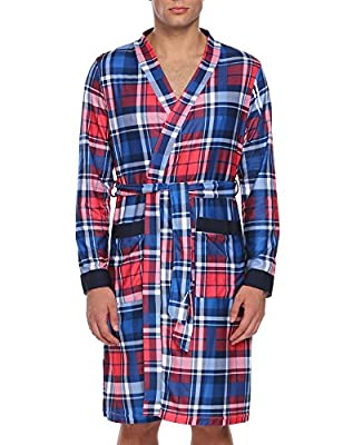 Ekouaer Mens 100% Cotton Robe Lightweight Woven Kimono Bathrobe XS-XL