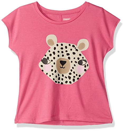 Gymboree Baby Girls Short Dolman Sleeve Printed Tee, Pink Leopard face, 4T