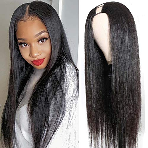 LEOSA Synthetic U Part Wigs for Black Women,Long Straight U Part Wig Synthetic Hair Thin Part Wig U Part 1.5''x 3.5'' U Shape Glueless Wigs U- Part Wig Cap with Combs Full Head U-part Hair Extension