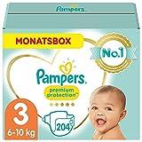 Pampers Baby Windeln Größe 3 (6-10kg) Premium Protection, 204 Stück, MONATSBOX