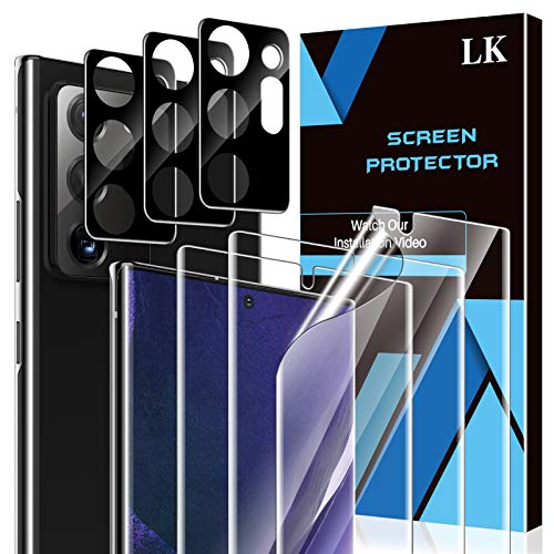 6 Pack LK 3 Pack Screen Protector + 3 Pack Camera Lens Protector Compatible with Samsung Galaxy Note 20 Ultra 5G -inch 6.9, Positioning Tool, HD Ultra-Thin, Flexible TPU Film
