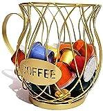 Fisecnoo - Porta cialde da caffè a forma di tazza, per casa, caffè, hotel, caffè, capsule, porta espresso, in filo di ferro, grande capacità