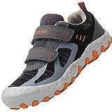 Zapatos Velcro para Niños Zapatillas Senderismo Niño Antideslizante Bambas Casual Niña Calzado Chicos Gris 35 EU