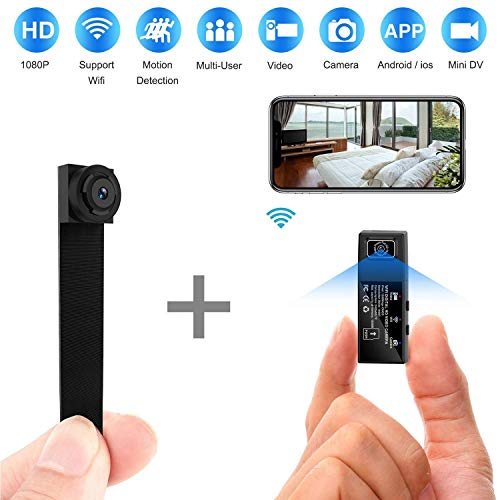 Cámara Oculta espía, cámara inalámbrica Wi-Fi 1080P App Mini portátil encubierta Seguridad Motion detección con Lente Intercambiable/detección de Movimiento para la Oficina en el hogar