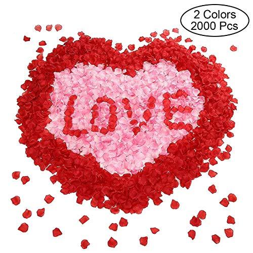 Sunerly 2000 stücke 2 Farben Silk künstliche rosenblätter Hochzeit Blume gefälligkeiten für Hochzeit Gang, konfetti für Party romantische Nacht Valentinstag Bett Tisch streuung Dekoration