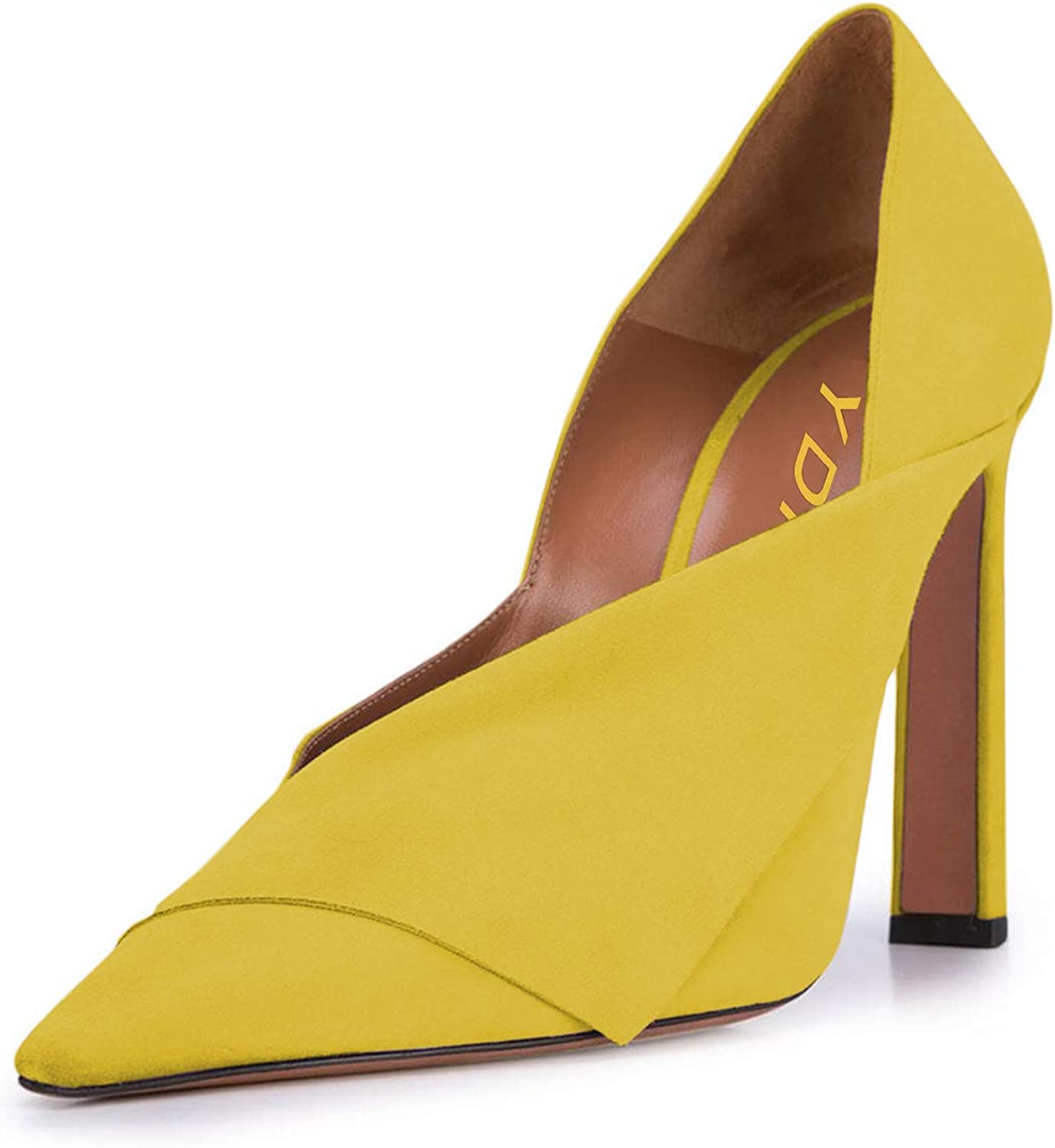 YDN Women Formal Pointed Toe Suede Pumps High Heels Slip On V Cut Office Party shoes