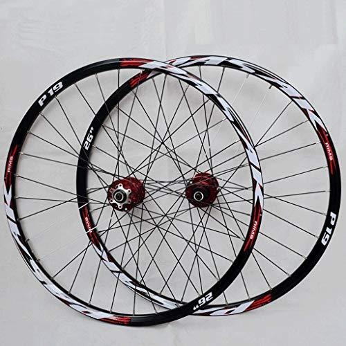 LSRRYD Set Ruote Bici MTB 26 27,5 29 Pollici Cerchi Doppia Parete Rilascio Rapido Freno Disco Ruote Ciclismo Bici 32 Ha Parlato Cassetta 7-11 velocità 2200g (Color : Red, Size : 26inch)