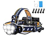 Brightest Headlamp,Super Bright 18000 Lumen 6 LED Work Headlight With Red Warning Lihgt