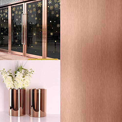 """Rose Gold Contact Paper Metallic Chrome Rose Gold Gloss Self Adhesive Craft Vinyl Roll 78.7""""x17.7""""Covering Removable Protective Film Home Decoration for Furniture, Banner, Signage,Decals,Laptop"""