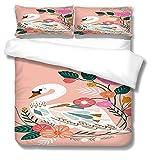 SLQL Juego de ropa de cama Anime Themed de dibujos animados grandes blancos Gans1 funda nórdica y 2 fundas de almohada de microfibra suave 135 x 200 cm
