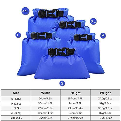 Lixada Pack of 3 Waterproof Portable Dry Bag Outdoor Ultralight Dry Sacks for Camping Backpacking Kayaking (1L+2L+3L) (Black x Blue x Orange x Green x Red(1.5L+2.5L+3L+3.5L+5L))