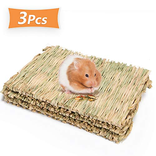 Timoo Rabbit Cage Mat, Natural Woven Grass Bed for Bunny, Guinea Pig, Rat, Hamster, Chinchillas,...