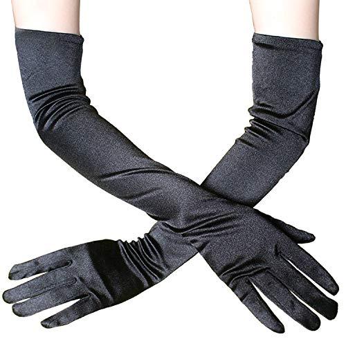 YouU Damen Handschuhe Satin Classic Opera Fest Party Audrey Hepburn Handschuhe 1920er Stil Handschuhe Elastisch Erwachsene Größe Ellenbogen bis Handgelenk (Schwarz)