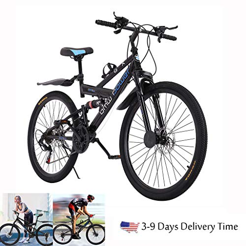 【Ship from USA】Adult Mountain Bikes 26 Inch Mountain Trail Bike High Carbon Steel Full Suspension MTB Speed Bicycles 6 Spoke Shimanos 21 Speed Gears Dual Disc Brakes Outdoor Mountain Bicycle (blue)