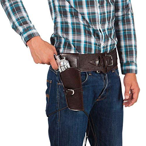 Boland 00579 - Cowboyset, Gürtel und Holster, Größe 110 cm, Lederimitat, Dunkelbraun, wilder Westen, Accessoire, Pistole, Motto Party, Karneval