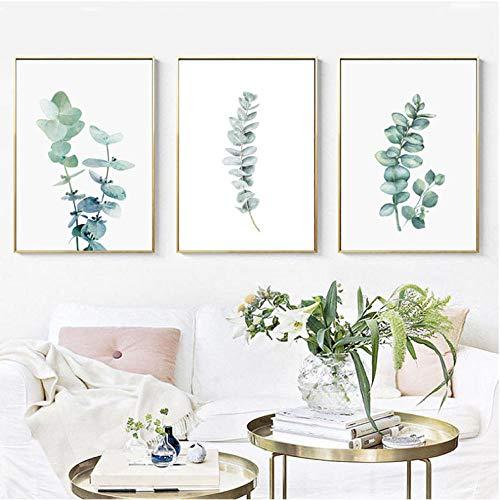 Aquarel groene plant Eucalyptus Monstera Wall Art Picture Nordic Canvas Poster en afdrukken Muurfoto's voor woonkamer Decor 40x60cmx3 ongekaderde