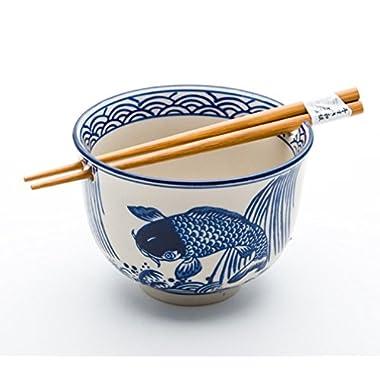 Quality Japanese Ramen Udon Noodle Bowl with Chopsticks Gift Set 5 Inch Diameter (Koi Design)