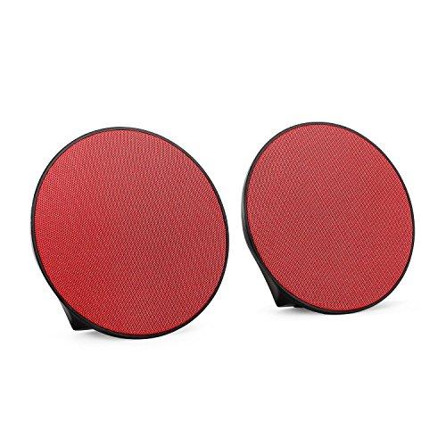 oneConcept - Dynasphere, Bluetooth-Lautsprecher, mobiler Außenlautsprecher, Boxen-Paar, drahtlose Musikwiedergabe, Status LEDs, AUX-Eingang, Ultraleicht, rot