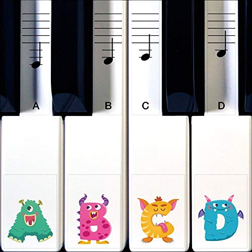 Crosby Audio Monster Pianostickers om Piano of Keyboard te leren spelen - Transparante 88, 76, 61 & 49 stickerset met vervangende stickers die meegroeien met kinderen