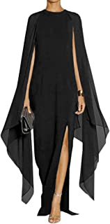 MAYFASEY Women's Elegant High Split Flare Sleeve Formal Evening Gowns Maxi Dress with Cape