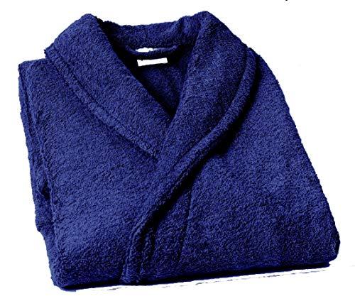 Lasa Pure Albornoz con Cuello Tipo Smoking, algodón 100%, Marino, XL