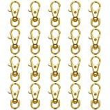 20 Pack Chrome Plated Gold Metal Swivel Lanyard Snap Hooks Heavy Duty Lobster Claw Key Rings Clasps Keychains Craft Making Accessories 36mm