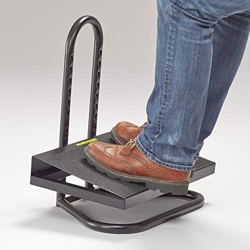 Safco Products Task Master Adjustable Footrest , 9 Positions, Tubular Steel Construction, Black