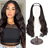 SEIKEA Clip in Half Wig U-Shape One Piece Clip in Hair Extension Long Natural Wavy Full Head Synthetic Hairpiece 7 Clips 24 Inch Black Brown