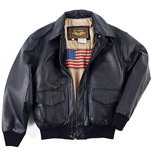 Landing Leathers Men's Air Force A-2 Leather Flight Bomber Jacket Black X-Large