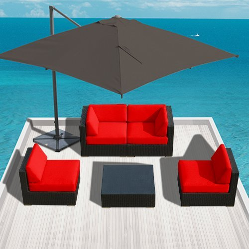 Hot Sale Genuine Luxxella Outdoor Patio Furniture Wicker Contemporary Sofa Sectional BELLA 5pc Set RED