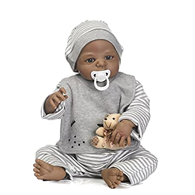 African American Reborn Baby Dolls 22 inch Silicone Baby Dolls African American Full Body Vinyl Realistic Reborn Dolls Babies Children Gift Set for Ages 3+
