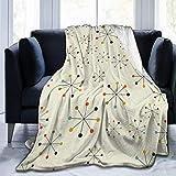 Yaxinduobao Fleece Throw Manta Mid Century Absctract Geometric Retro Modern Lightweight Cute Soft Mantas for Sofa Chair Bed Office Travelling Camping 50'x40'