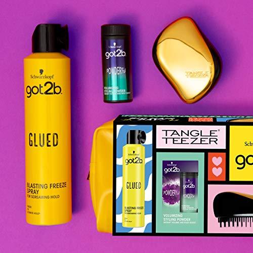 Schwarzkopf got2b Good Hair Day Geschenk-Set – Tangle Teezer, Strahlen Freeze Spray, Volumizing Powderful und Limited Edition Kulturbeutel