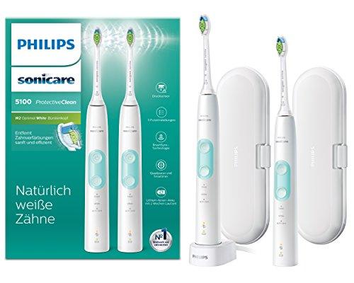 Philips Sonicare ProtectiveClean 5100 elektrische Zahnbürste HX6857/34 Doppelpack – 2 Schallzahnbürsten mit 3 Putzprogrammen, Andruckkontrolle, Reiseetuis – Weiß