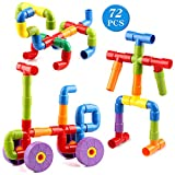Wondertoys 72 Piece Pipe Toys for Kids Multicolor Pipe Tube Building Blocks Educational STEM Construction Learning Toys with Wheels Baseplate for All Ages Kids