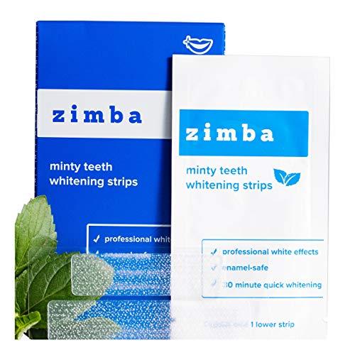 ZIMBA Teeth Whitening Strips - Mint - 28 Zimba Whitening Strips - Teeth Whitening Sensitive Teeth - White Strips Teeth Whitening - Best Teeth Whitener - Natural Whitening Strips - 14 Uses