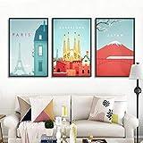 OCRTN Dibujos Animados Lindo Paisaje de la Ciudad París Barcelona Japón Imagen Impresa Lienzo Pintura decoración del hogar póster para Sala de Estar Dormitorio - 40x60cmx3 (sin Marco)