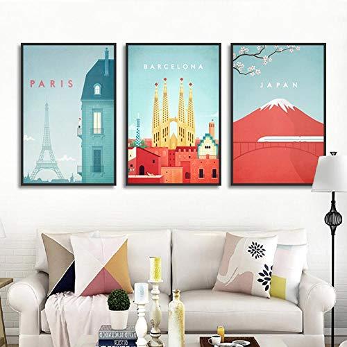 SNGTOW Dibujos Animados Lindo Paisaje de la Ciudad París Barcelona Japón Imagen Impresa Lienzo Pintura decoración del hogar póster para Sala de Estar Dormitorio | 40x60cmx3 sin Marco