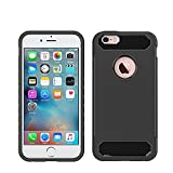 [CLINGCASE] iPhone 7 8 Plus Case- Carbon Fiber Hybrid Anti-Slip Grip Full Body Protector Cover Case, Flexible Soft TPU & Rubberized PC (Black)