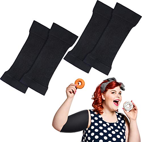 2 Pairs Arm Shapers for Plus Size Women, Upper Arm Sleeves Slimming Arm Wraps Slim Arm Compression Sleeve for Flabby Arms Tone Shape (Black, L)