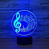 3D Optical Illusion LED Nigth Light Music Note Table Desk Lamp 7 Color Changeable LED Night Light...