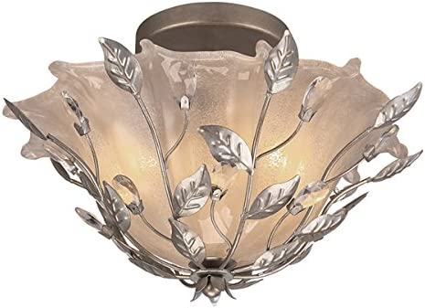 Portfolio 15.87-in W Max 55% cheap OFF Brushed Nickel Etched with Crys Shade Glass