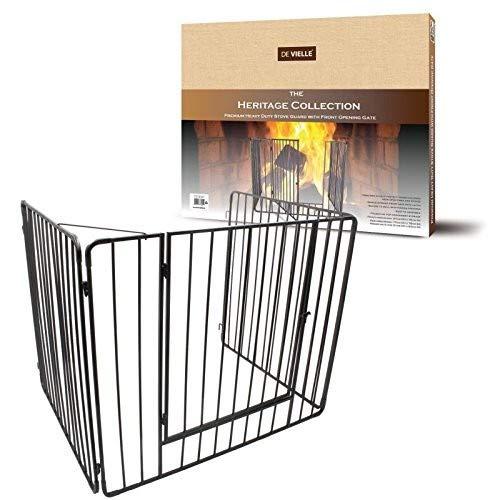 De Vielle - Protector de chimenea con puerta, cuidado para los niños, metal, negro, 91 x 76 x 70 cm
