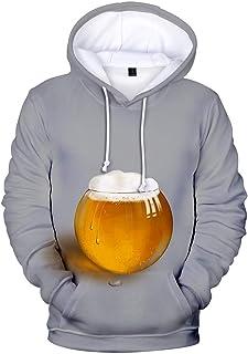 Gergeos Men's Hooded Pullover Fashion 3D Print Male Long Sleeve Outwear T-Shirt Hoodies Sweatshirt,Beer Festival