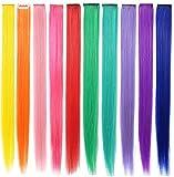 FYHTSD 10PCS 21 '' Extensiones de cabello de arco iris Extensiones de cabello de colores Clip en / en para niñas Accesorios para el cabello Piezas de peluca para mujeres