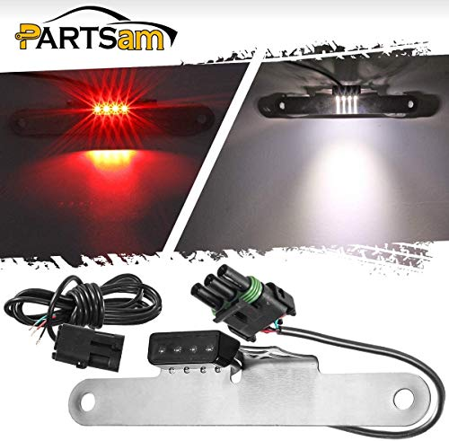 Partsam Compatible with Jeep Wrangler JK Fender LED License Plate and Third 3rd Brake Light 2M Wiring Harness and Connectors