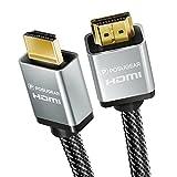 POSUGEAR Câble HDMI 2.0a/b, 2.0, 1.4a, Nylon Tressé HDMI- 4K Ultra HD 2160P, Full HD 1080p, 3D, Connecteurs Plaqués Or-Ethernet, Arc et CEC-Câble Triple Blindage + Blindage Fiche et Contacts-2M