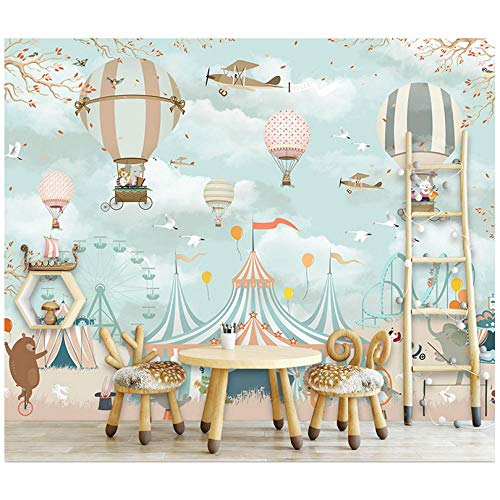Lovemq Papel Tapiz Mural Habitación Infantil Papel De Pared Dibujos Animados Circo Animal Globo Foto Papel Tapiz Mural Habitación Infantil 3D Vinilo Autoadhesivo Papel Tapiz De Seda-7