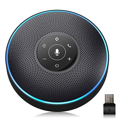Bluetooth Speakerphone - eMeet M2 Black Conference Speaker for 5-8 People Business Conference 360º Voice Pickup 4 AI Microphone Self-Adaptive Conference Call Speaker Skype USB Speakerphone